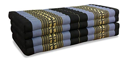 livasia Kapok Klappmatratze (195cm x 110cm), Faltbare Gästematratze, klappbare Matratze, Faltmatratze (blau/Elefanten)