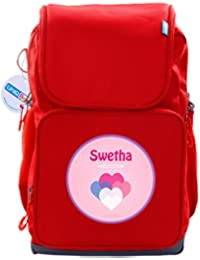 UniQBees Personalised School Bag With Name (Smart Kids Large School Backpack-Red-Love Hearts)