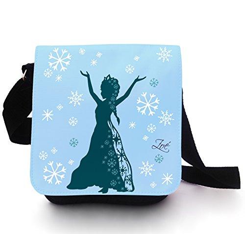 Sac Main Sac D'École neige Reine Princesse Neige Glace avec nom personnalisé en lichtblau KT105