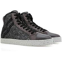 Hogan Rebel Hi Top Sneakers Donna HXW1820I651DYF0803 Glitter Nero 99bd23c957b