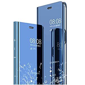 Sunny Fashion Luxury Clear View Electroplate Mirror Protective Leather Flip Cover Case for Vivo V17 Pro - Blue
