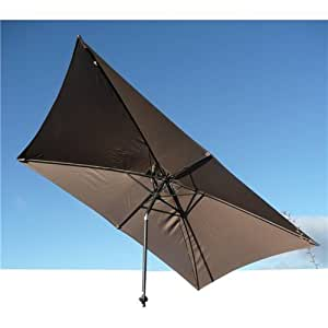 Grand parasol inclinable rectangulaire 3x2 mètres en aluminium moka