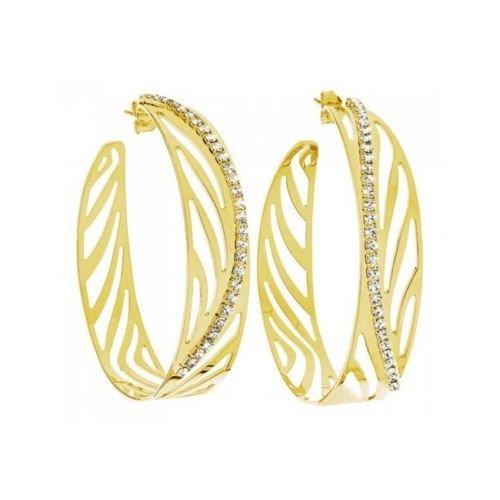 STROILI Orecchini cerchio metallo placcato oro lucido zirconi KALAHARI 1607312
