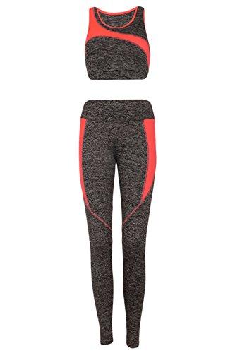 M2K Paris - Ensemble sportswear - Femme Grau-Neonkorall