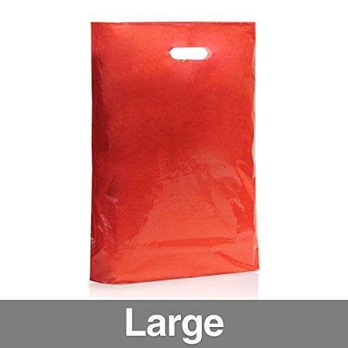 Confezione di 500colore rosso sacchetti di plastica con maniglia Grande Red
