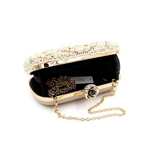 WYB Diamant-Perlen Abendtasche / Kupplung / hochwertigen Schwer- / Perle Brautbeutel / Ketten nude color
