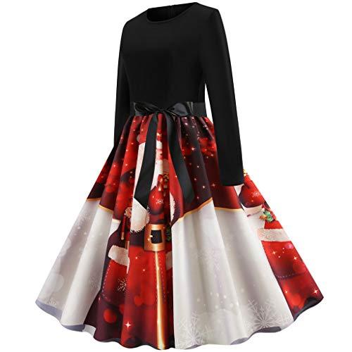 Cheerleader Kostüm 50er Jahre - Sllowwa Weihnachtskleid Kleid 50er Jahre Rockabilly Damen Vintage Blumendruck Plaid Ärmellos Casual Abend Prom Swing Kleid Röcke Petticoat(rot,Small)