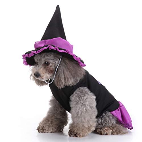 POPETPOP Hund Kostüme Hexe-Haustier Hund Katze Kleidung Mit Hexenhut Halloween Mäntel Kleidung Kostüm Für Welpen Chihuahua Katze (Wizard Anzug L)