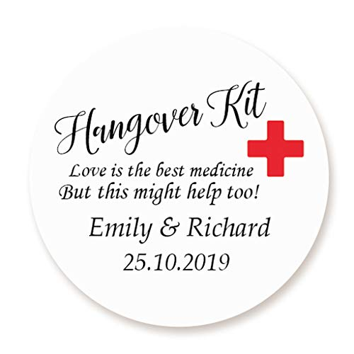 iert Rotes Kreuz Hangover Kit Sticker - 'Love is the best medicine' Aufkleber,40mm Kater Kit Etiketten die Hochzeit,Gastgeschenk,Hen Night,Geburtstag,Bachelorette Party - Rd 257 ()