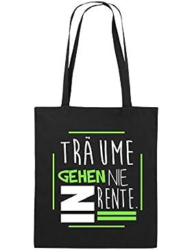 Comedy Bags - Träume gehen nie in Rente. - Jutebeutel bedruckt, Baumwolltasche zwei lange Henkel aus 100 % Baumwolle...
