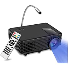 Mini Proyector RD LED, YOKKAO Videoproyector Portátil LED LCD 800x480 soporta 1080p, Home Cinema con puertos para TV / HDMI / USB / VGA + Lamparita LED de regalo (Color negro)