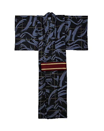 Männer Japanische Kimono Home Robe Pyjamas Bademantel Morgenmantel 2(Mit Gürtel)