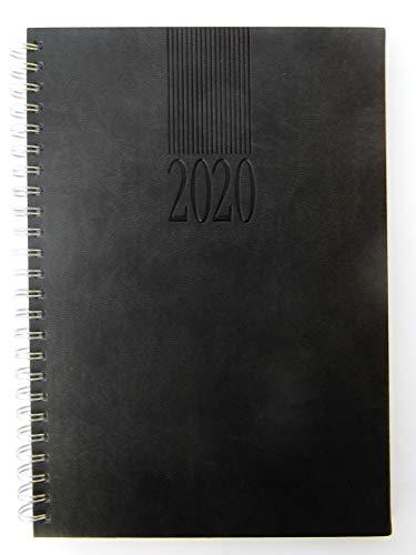 Wochen-Timer 2020, Wochenkalender, 1 Woche 2 Seiten, Spiral-Bindung, Schwarz A5