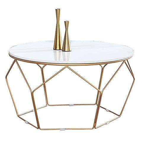 YNN Tisch Runder Couchtisch Eisen Multifunktions Nachttisch Marmorplatte (3 Farben / 2 Größen) (Farbe : A, größe : 45 * 55CM) (Nachttisch Runde Eisen)