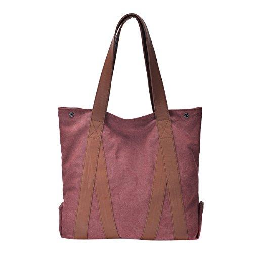 Leinwand Damen Große Kapazität Einfache Literatur Wearable Atmungsaktiv All-Spiel Handtasche Purple
