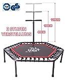 Best for Sports Fitness Trampolin mit Stange, Bungee-Seil-System 42 Stück, Ø 110 cm, bis 120 kg Benutzergewicht TÜV geprüft