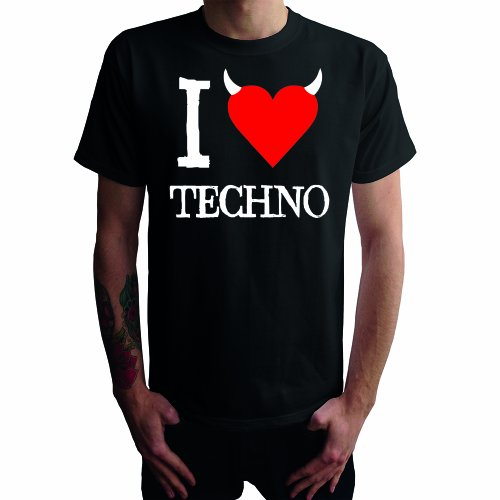 I don't love Techno Herren T-Shirt Schwarz