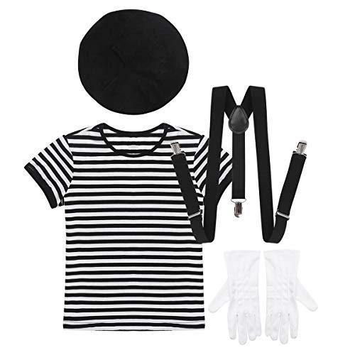 inlzdz Disfraz de Mimo Artista para Infantil Conjunto Camiseta Rayas de Manga Corta Boina Tirantes Guantes Cosplay Costume Halloween Carnaval Negro 12 Años