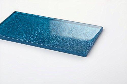 Glas Wand Fliese Blau mit Glitzer Fliese ist 7.5cm x 15cm. Die Stärke beträgt 6mm (MT0110)