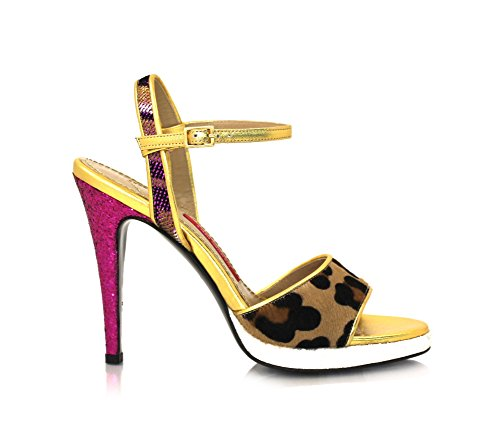 Band Sandalen Stiletto 9cm Leopard Fell Echtleder Innensohle Pink / Gold