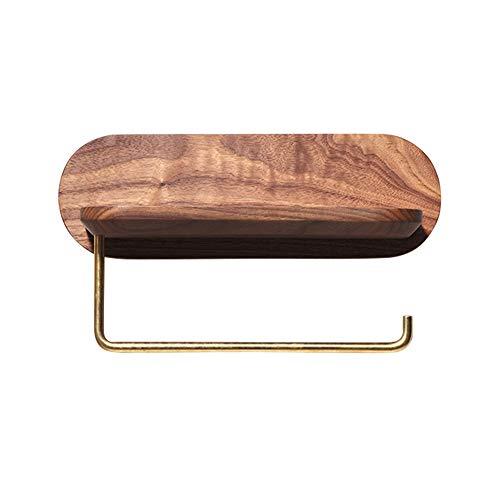 NBRTT Toilettenpapierhalter, Holz-Handtuchhalter für die Wandmontage, Toilettenpapierhalter mit Handyablage, Küchenablage aus Eichenholz