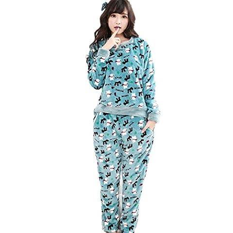 DMMSS Flanell Bademantel Dame Verdickung Cartoon niedlich Heimservice Pyjama Set , meters white , (Weiche Womens Chemise)