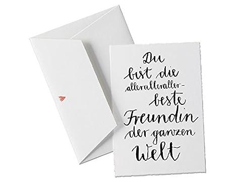 Du bist die allerallerallerbeste FREUNDIN der Welt, Spruch Glückwunschkarte Postkarte für Freundinnen, beste Freundin oder allgemeine Grußkarte als Dankeschön, zum Geburtstag, Valentinstagsgeschenk klassisch mit Herz - (Gute Freundin Geschenke)
