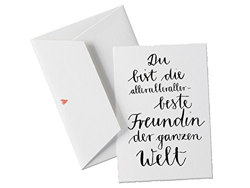 Du bist die allerallerallerbeste FREUNDIN der Welt, Spruch Glückwunschkarte Postkarte für Freundinnen, beste Freundin oder allgemeine Grußkarte als Dankeschön, zum Geburtstag, Valentinstagsgeschenk klassisch mit Herz - Umschlag