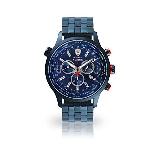 DETOMASO AURINO Herren-Armbanduhr Chronograph Analog Quarz Edelstahlgehäuse blaues Zifferblatt Leder Edelstahl - Jetzt mit 5 Jahre Herstellergarantie (Edelstahl - Blau)