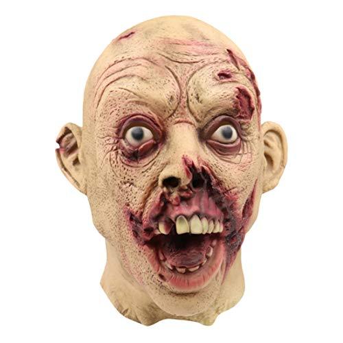 Licht Up Kostüm Männer - YuStar Halloween-Horror-Maske Bucktooth blutige Zombie-Masken Walking Dead Gruseliges Latex, Vollgesicht, für Erwachsene, Cosplay, Party-Requisiten