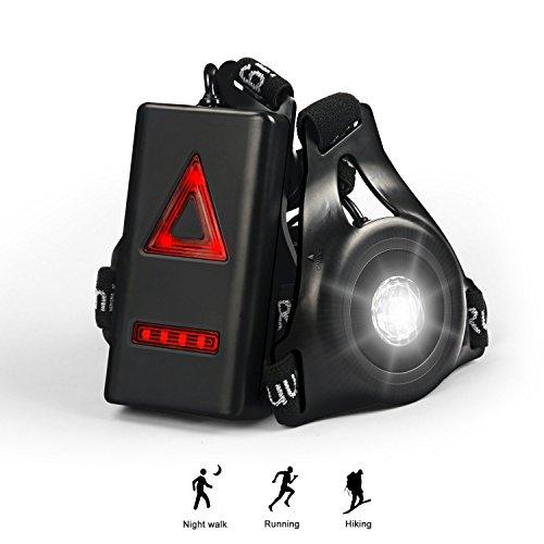 USB Ricaricabile Running Light, Waitiee Seno Lampada 250 LM Impermeabile Sport, Leggero, Luce Petto per Jogging, Camminare, Campeggio (Black)