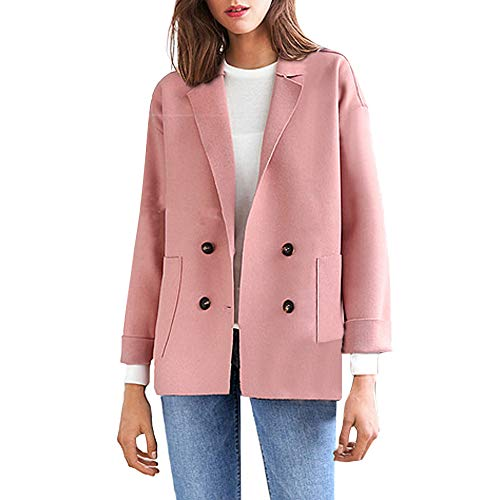 HOOUDO Women Winter Coat Lapel Plus Size Solid Pocket Loose Shirt Button Casual Overcoat Jacket Outwear(XL,Pink)
