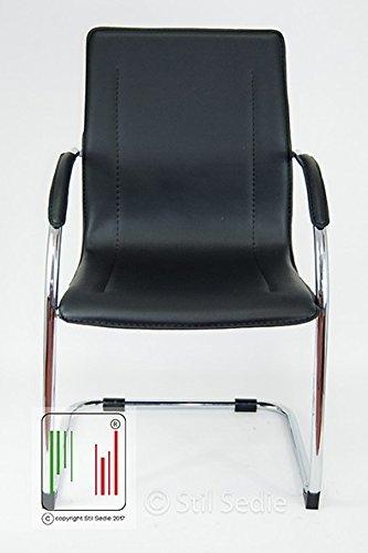 Stil Sedie - Poltrona Sedia Ufficio Su Slitta Modello Milano NERO