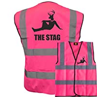 The Stag With Suited Deer! Pink Hi Vis Vest -Ideal For Stag Do & Stag Nights Large