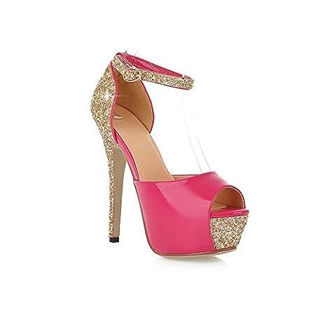Adee Womens Fashion High-Heels Rosered Polyurethane Sandals 8