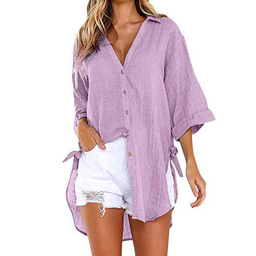 Bobopai Women's Blouse 3/5 Sleeve Floral Print T-Shirt Comfy Casual Tops for Women Drawstring Jersey Sweatshirt