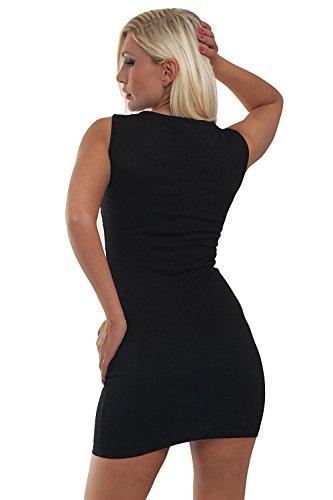 5682 Fashion4Young mini-robe sans manches pour femme avec perles robe disponible en 2 coloris disponibles - 3 tailles disponibles Noir - Noir