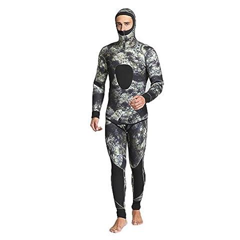 Neue 5mm Volle Länge Neopren Neoprenanzug Männer Sportbekleidung Wasserdicht Jagd Fisch Mit Kapuze Tauchanzug , B , XXL
