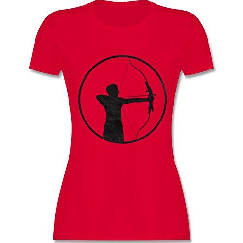 Shirtracer Sonstige Sportarten - Bogenschütze - Damen T-Shirt Rundhals Rot