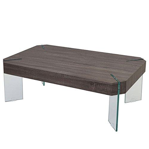 Table Basse de Salon KOS T578, FSC 40x110x60cm ~ Aspect chêne foncé, Pieds en Verre