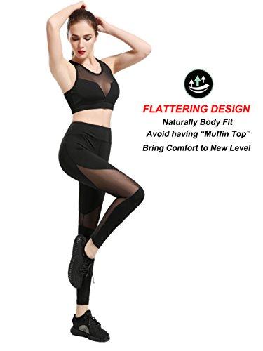 dh Garment Legging da donna con inserti a rete Pantaloni da Yoga a vita alta con tasca nell'elastico in vita - Contenitivo per la pancia Stile 3
