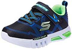 Idea Regalo - Skechers Boys' Flex-Glow Trainers, Black (Black Blue Lime Bblm), 10.5 UK 28 EU