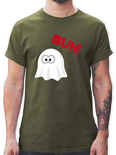 Halloween - Kleiner Geist Buh süß - XL - Army Grün - L190 - Herren T-Shirt ()