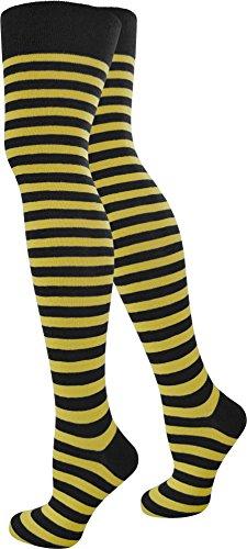 normani 1-10 Paar Damen Karneval Kostüm Fasching Baumwoll-Overknees Blickdicht Halterlose Strümpfe mit Streifen Farbe Schwarz/Gelb Größe 1 Paar