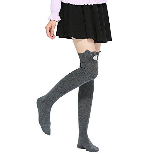 Sanwood Medias lindas sobre de la rodilla Calcetines altos de patrón de animals de dibujos animados de 3D para las mujeres (Gris oscuro)