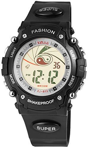Xinjia - Reloj Digital de Pulsera para Hombre (Cuarzo, Silicona, con Alarma, luz y cronómetro, Fecha)