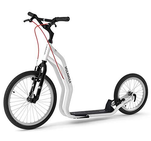 Yedoo Scooter Tretroller, Mula RunRun, City-Roller, Räder 20/16 Zoll für Stadt/Offroad, V-Brake, Klingel, Rahmenfarbe weiß, für Erwachsene und Jugendliche, 150 kg Tragkraft