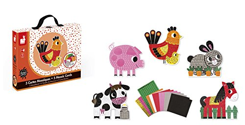 Janod J07768 Mosaic Cards Set, A Day at the Farm