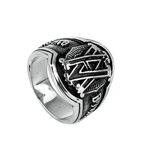 BeyDoDo Modeschmuck Edelstahlring Herren Ring Edelstahl Alphabet Buchstabe VA Silber Ring für Männer Ringgröße 54 (17.2) (Alphabet Buchstaben Kostüme)