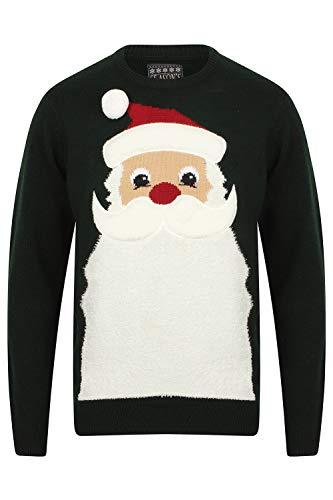 Seasons Greetings Erwachsene Unisex Weihnachts Pullover Designer festlich Weihnachten Pullover - Weihnachtsmann Bart - Heilig Grün/Schwarz, Größe - M - 40' Kasten